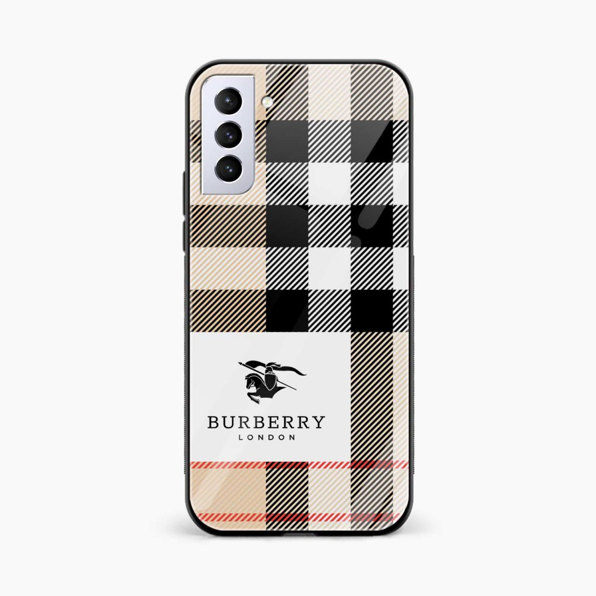 burberry cross lines front view samsung s21 plug back cover