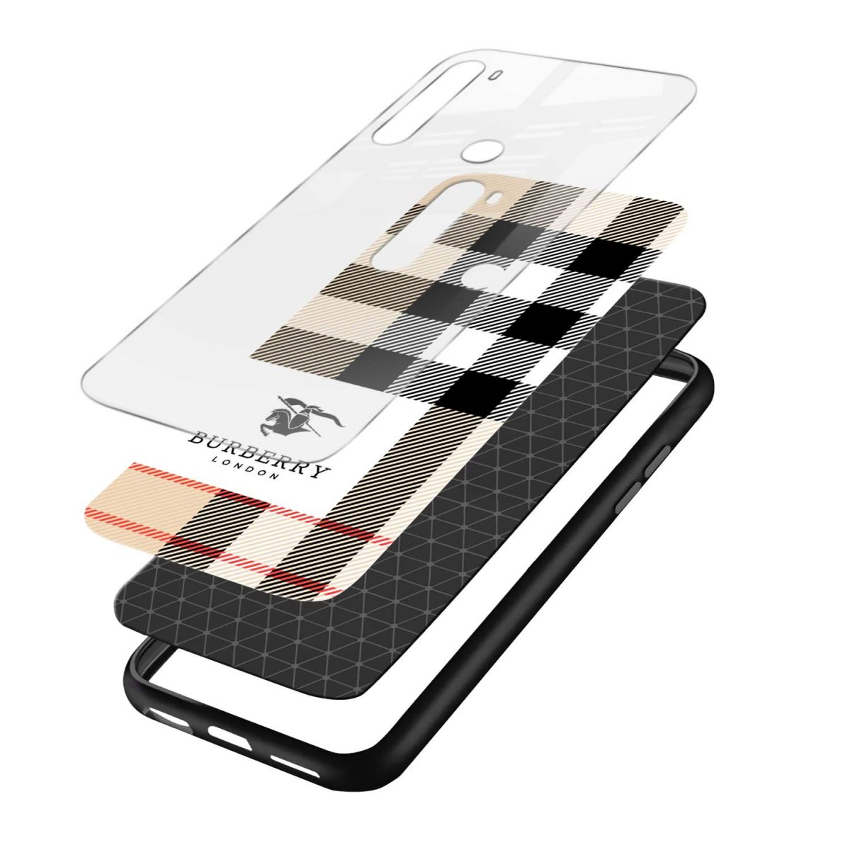 burberry cross lines pattern layers view redmi note 8 back cover 1