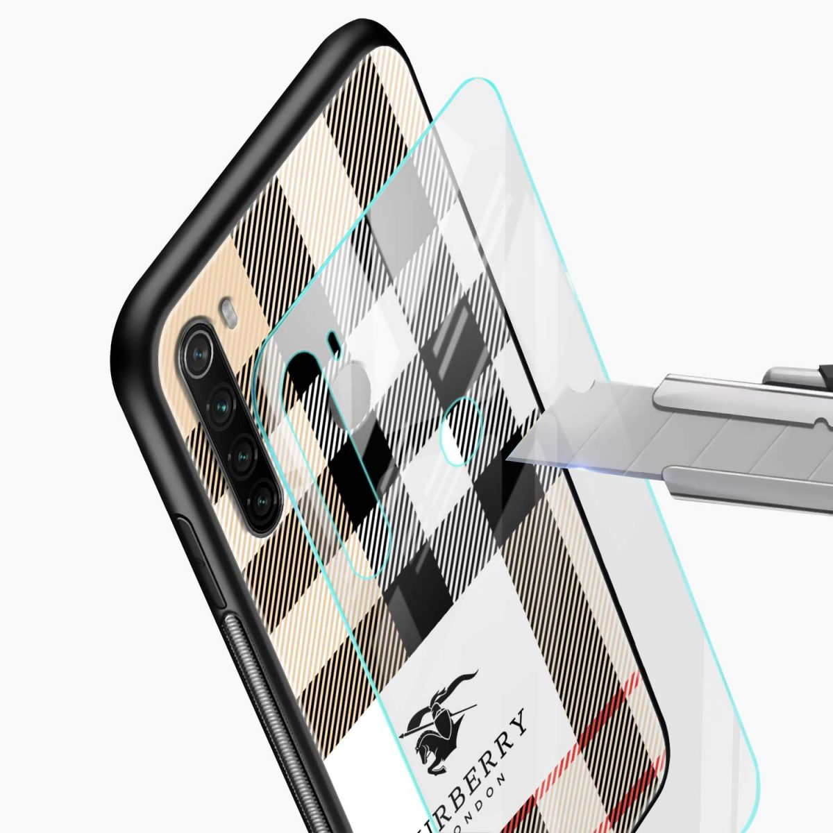 burberry cross lines pattern glass view redmi note 8 back cover 1