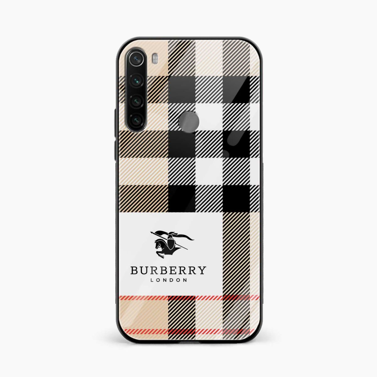 burberry cross lines pattern front view redmi note 8 back cover 1