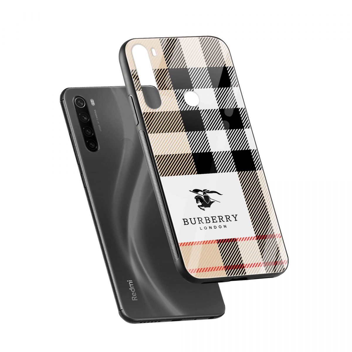 burberry cross lines pattern diagonal view redmi note 8 back cover 1