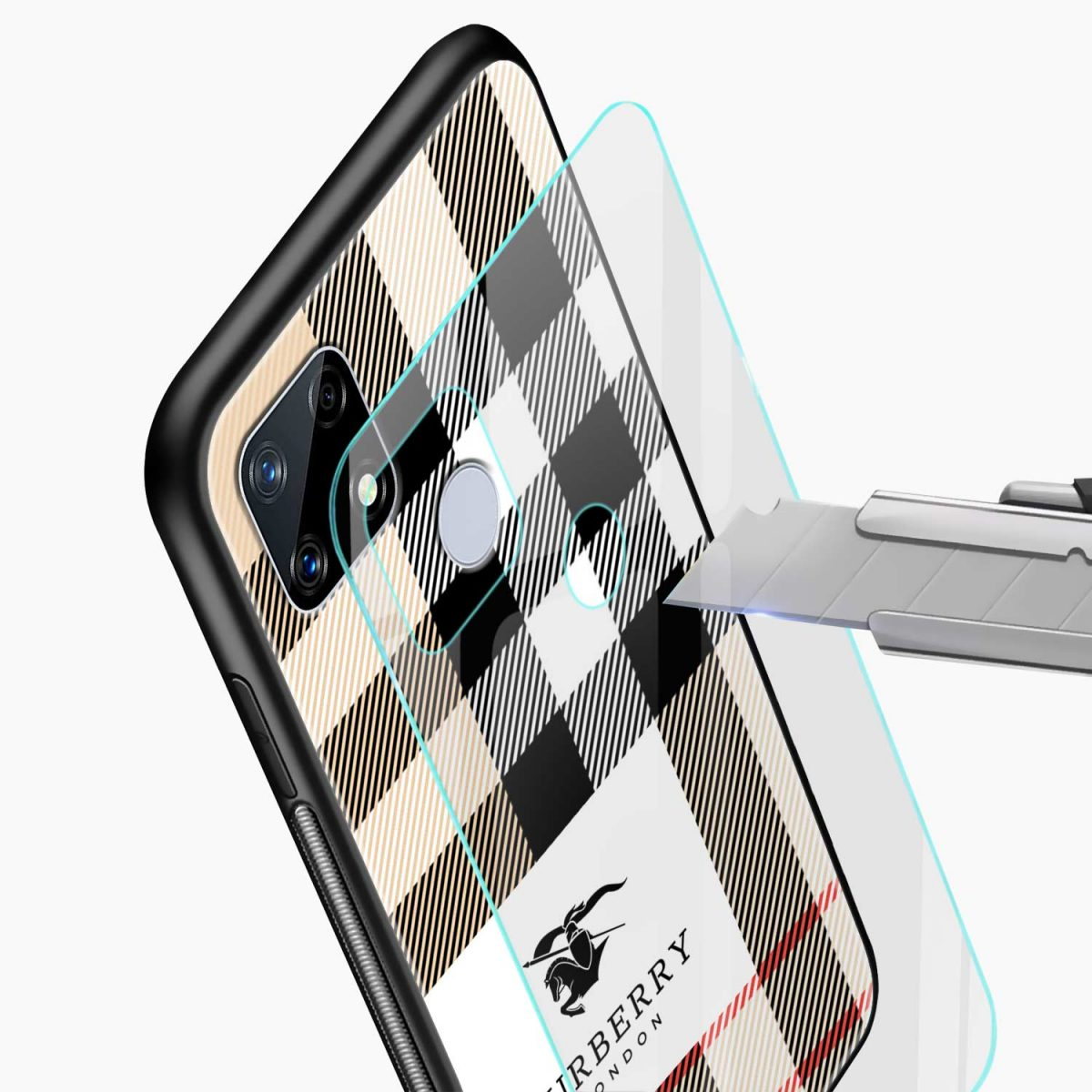 burberry cross lines pattern glass view realme narzo 20 back cover