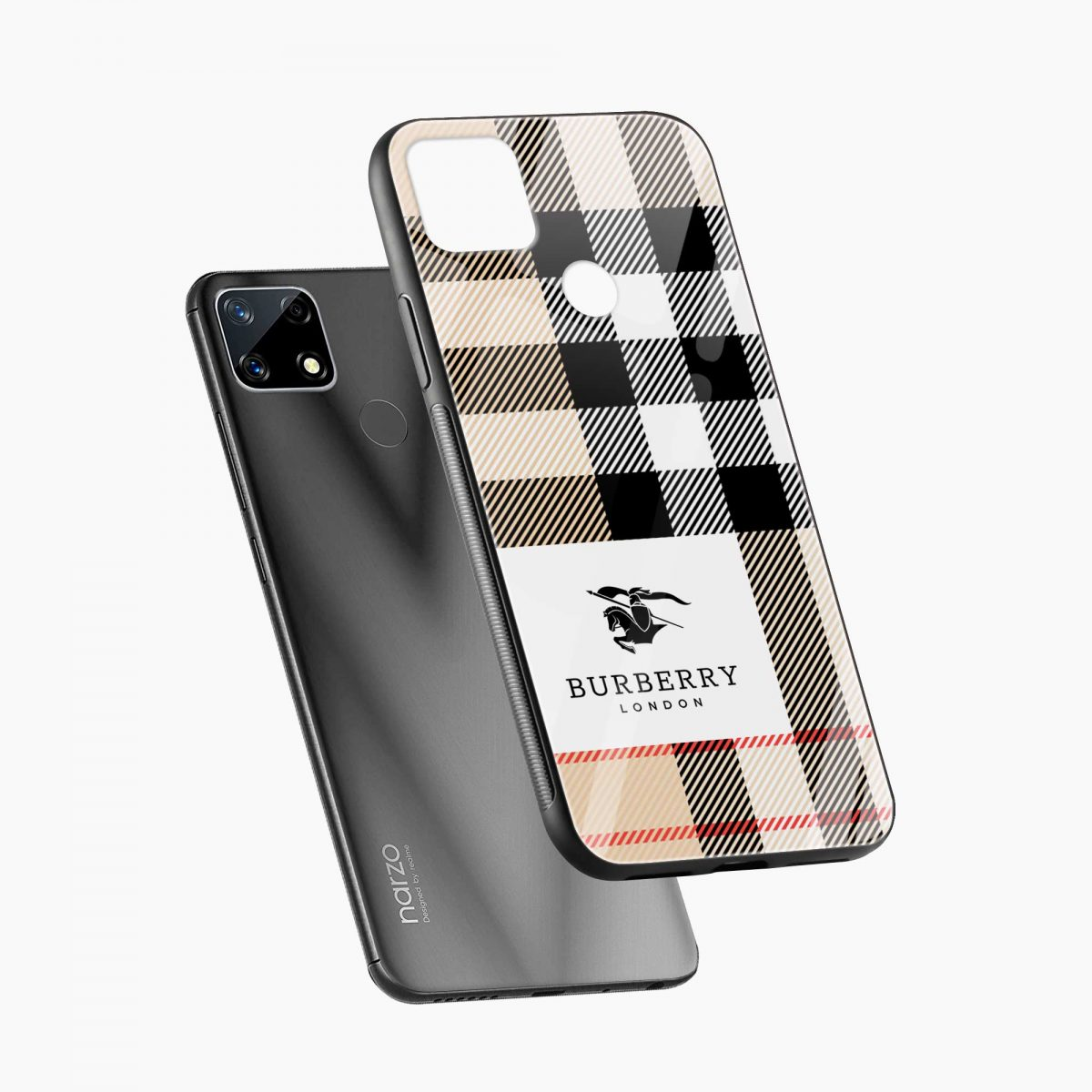 burberry cross lines pattern diagonal view realme narzo 20 back cover