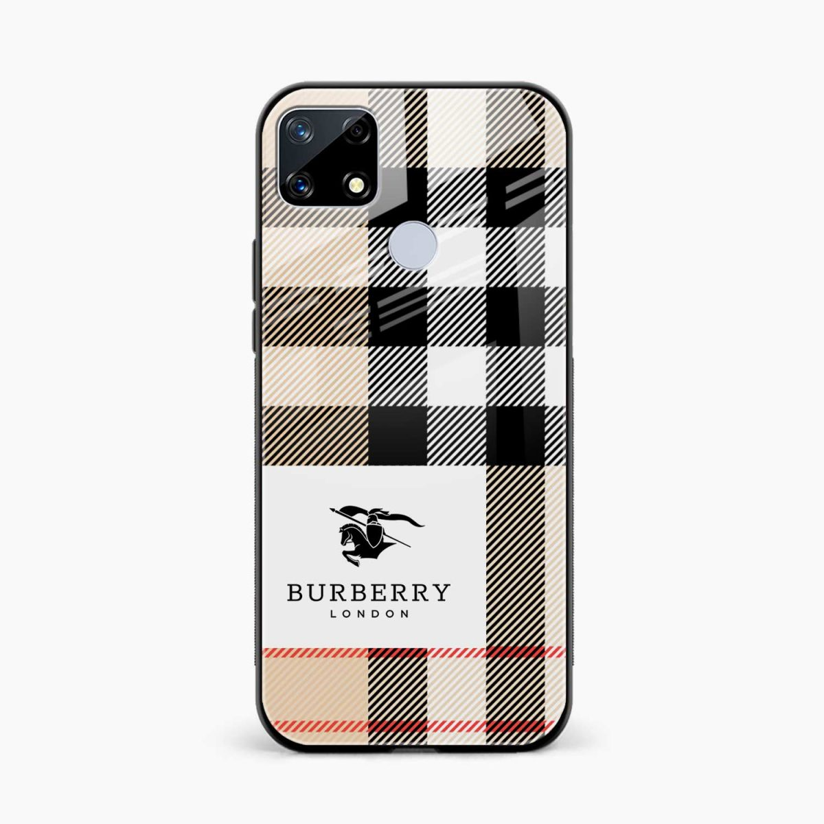 burberry cross lines pattern front view realme narzo 20 back cover