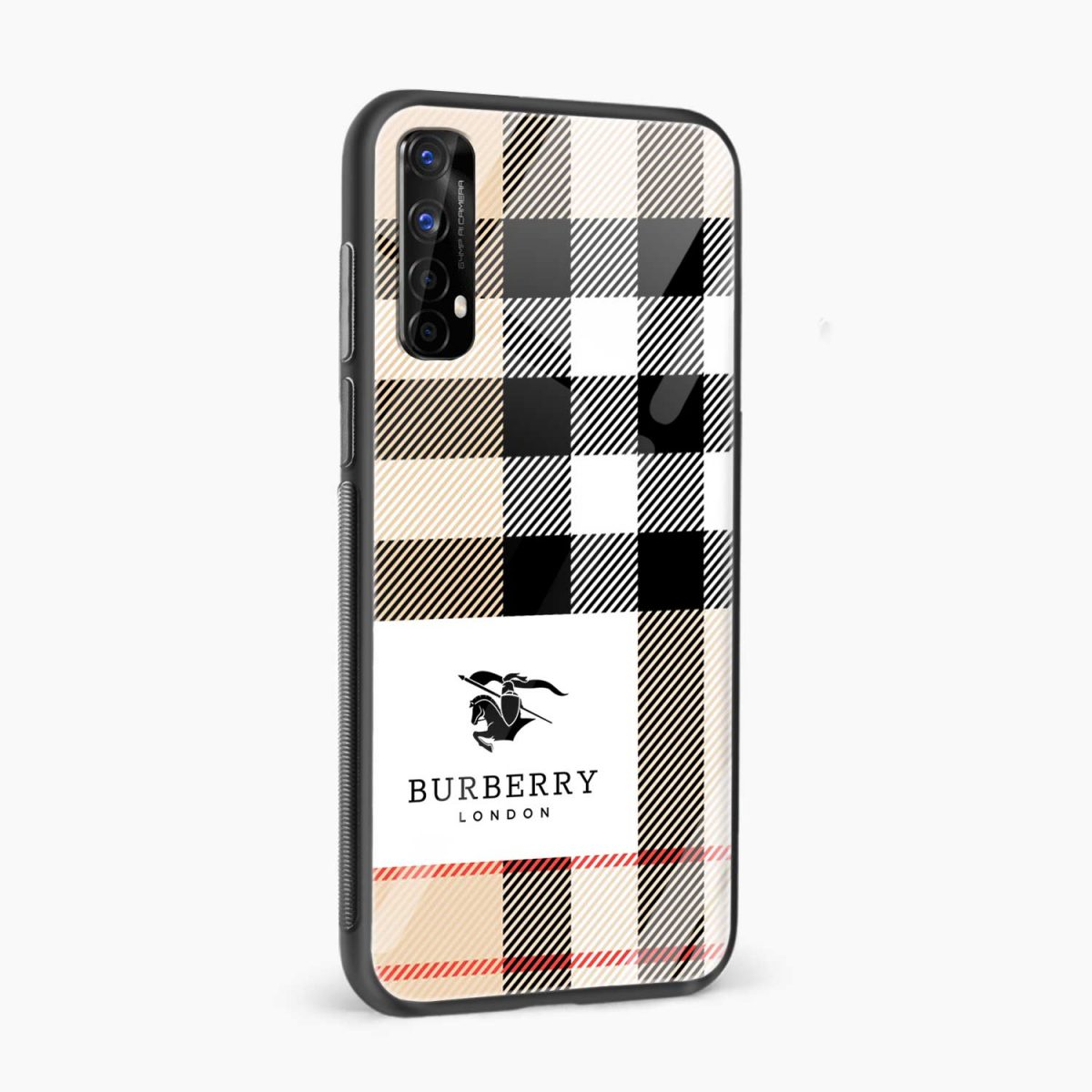 burberry cross lines pattern side view realme 7 back cover