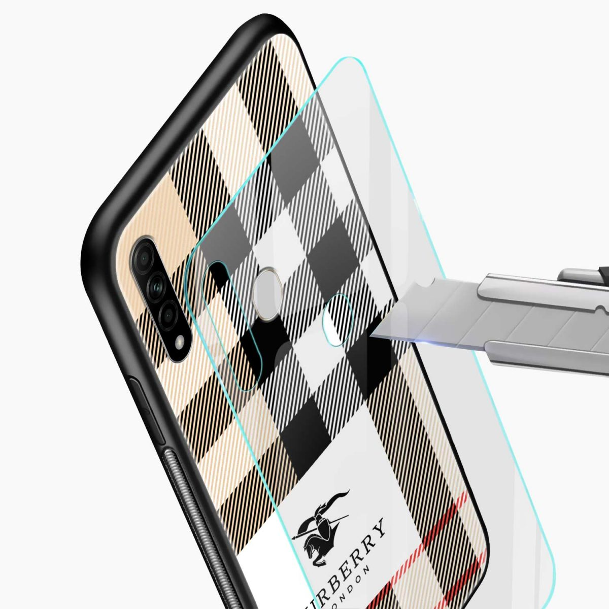 burberry cross lines pattern glass view oppo a31 back cover