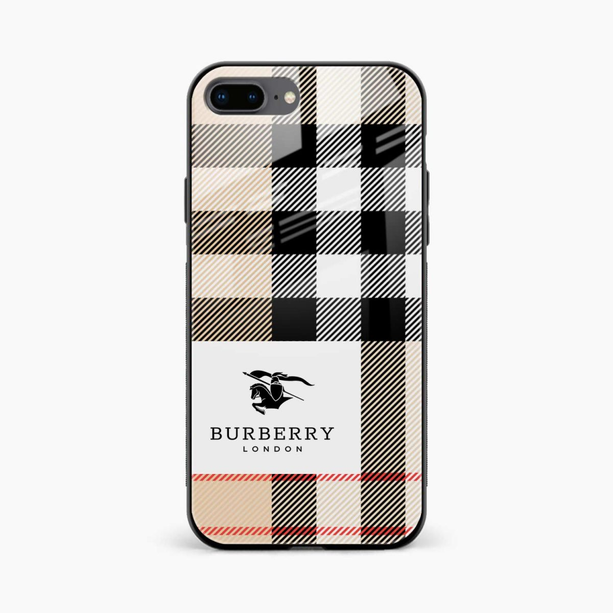 burberry cross lines pattern front view apple iphone 7 8 plus back cover