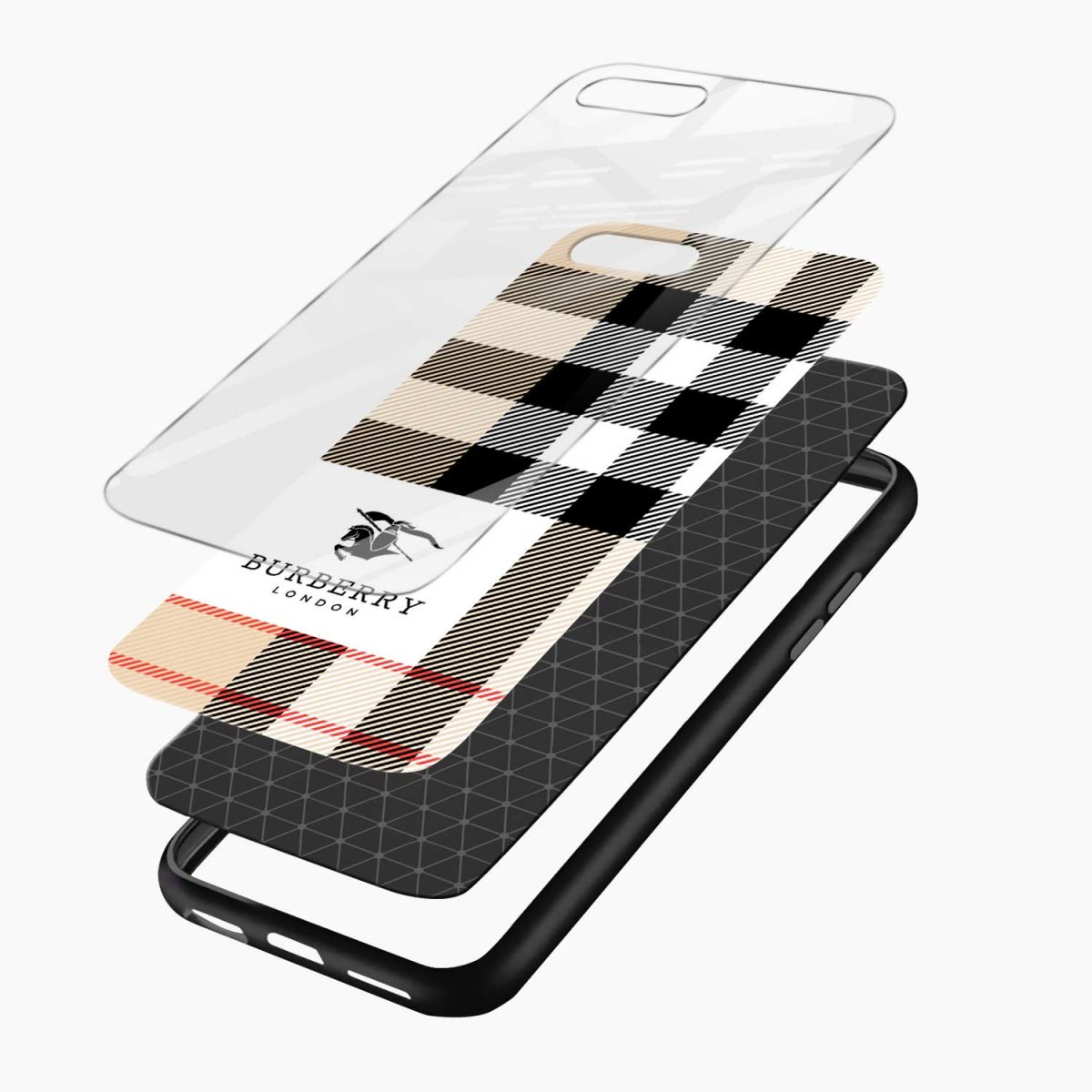 burberry cross lines pattern layers view apple iphone 7 8 plus back cover