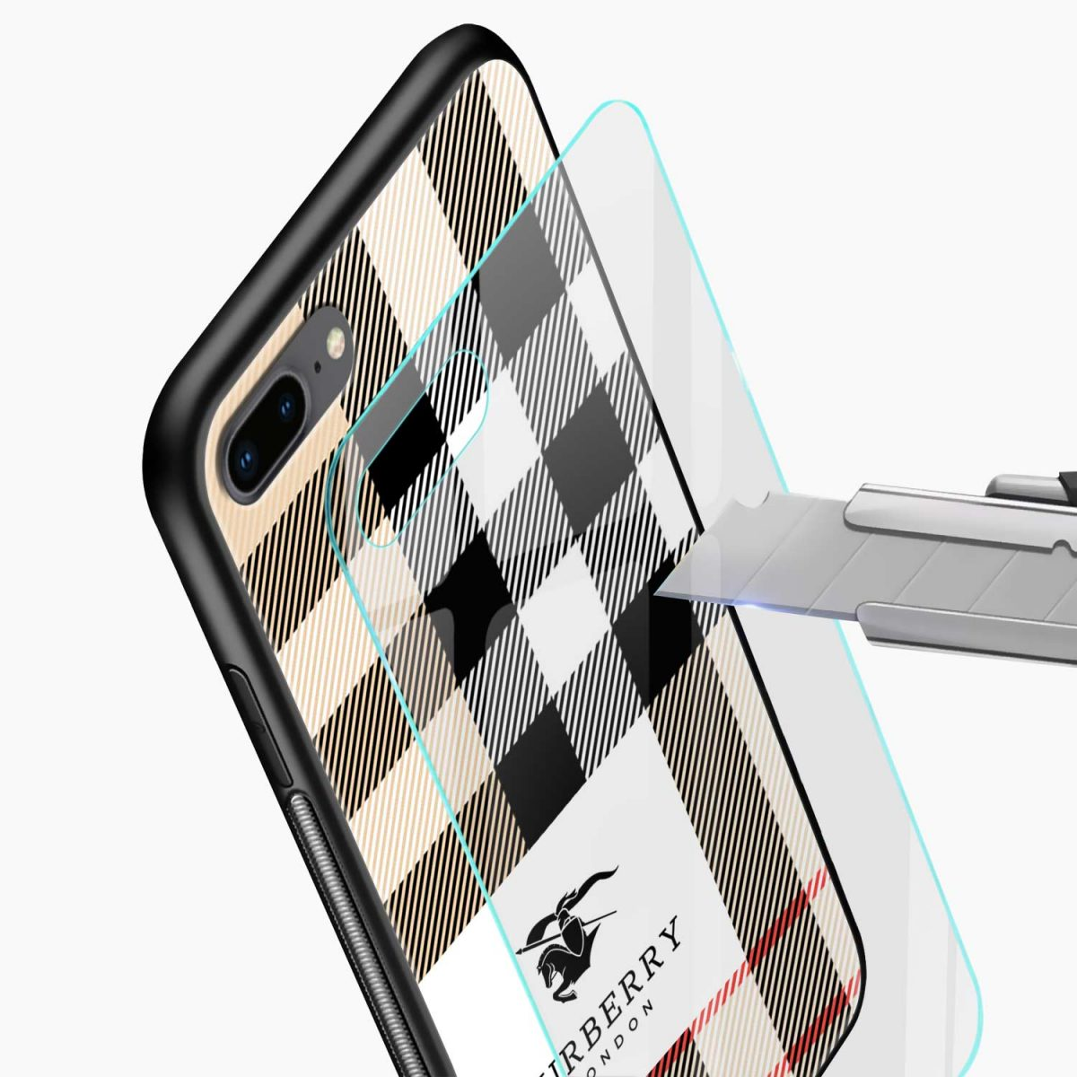 burberry cross lines pattern glass view apple iphone 7 8 plus back cover