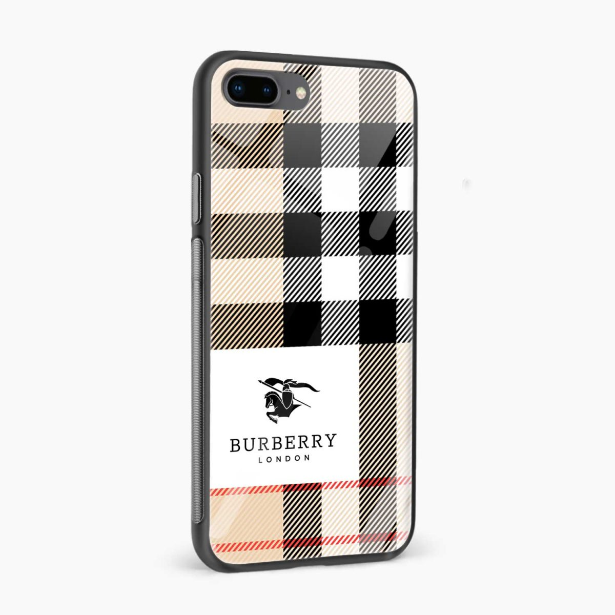 burberry cross lines pattern side view apple iphone 7 8 plus back cover