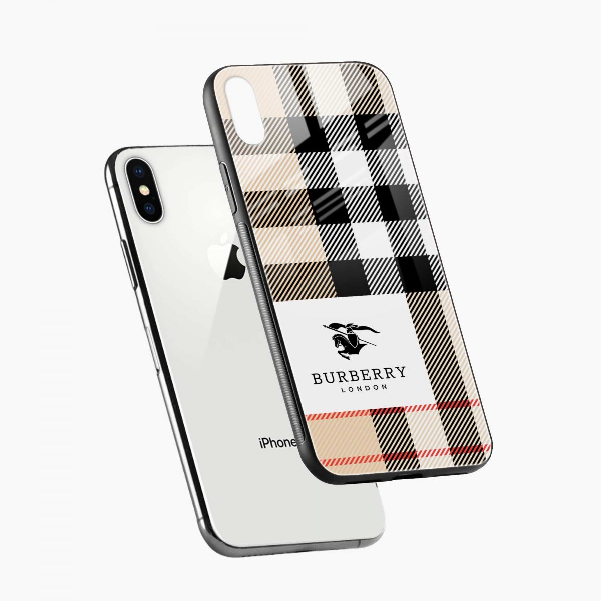 burberry cross lines pattern diagonal view apple iphone x xs max back cover