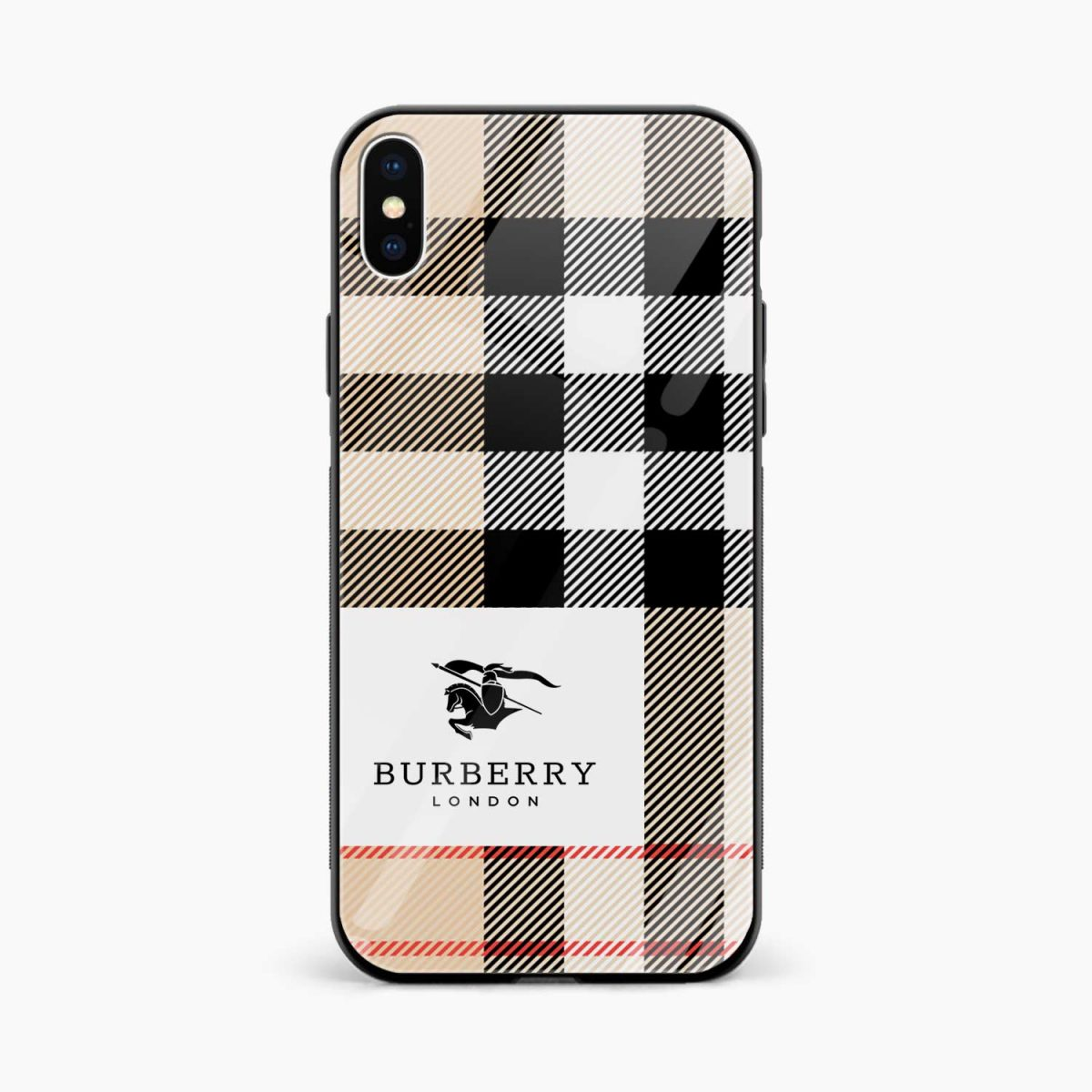 burberry cross lines pattern front view apple iphone x xs max back cover