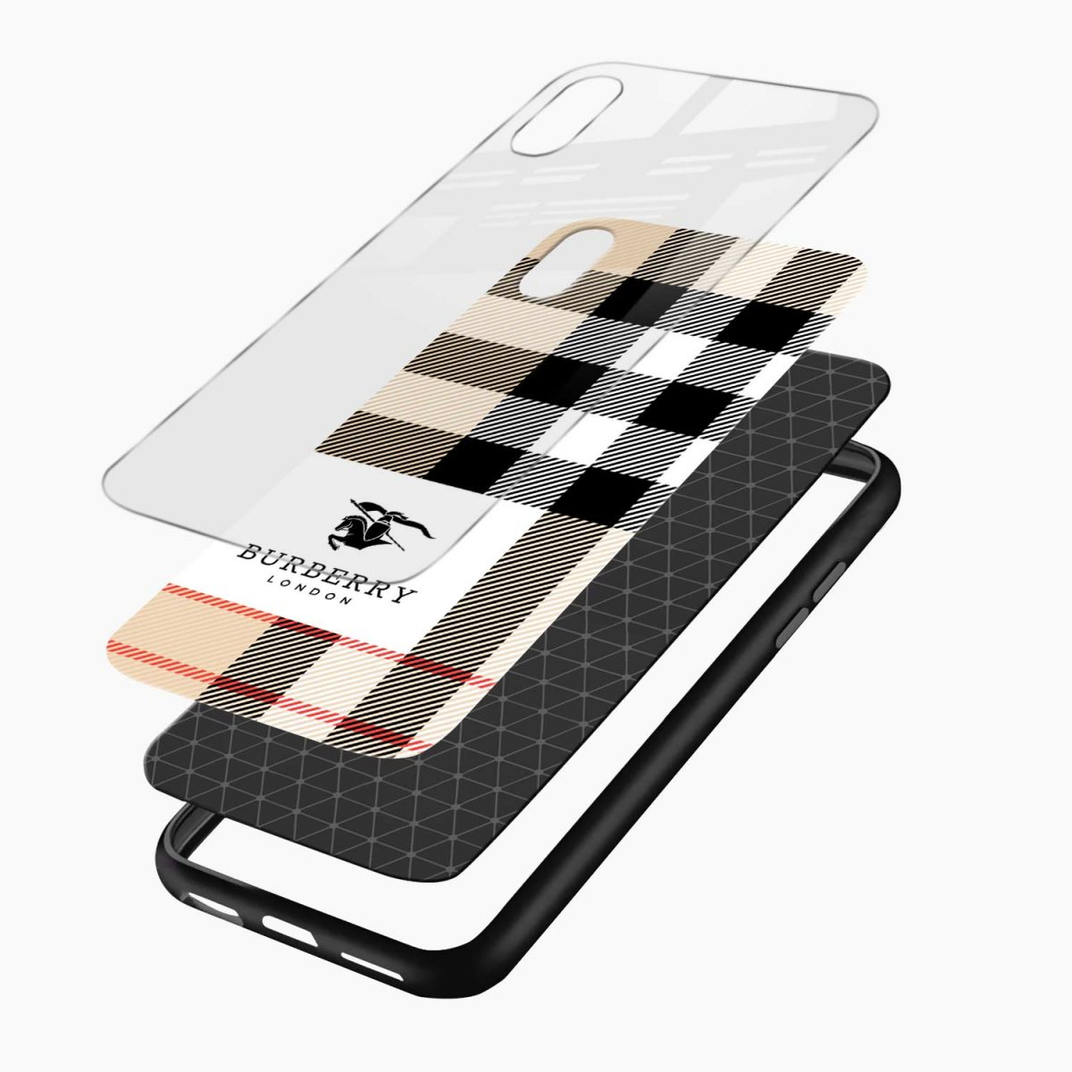 burberry cross lines pattern layers view apple iphone x xs max back cover