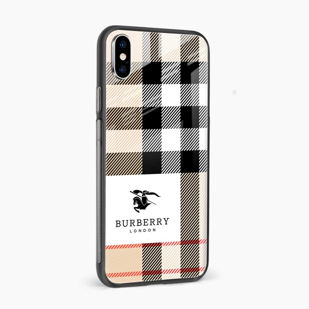 burberry cross lines pattern side view apple iphone x xs max back cover