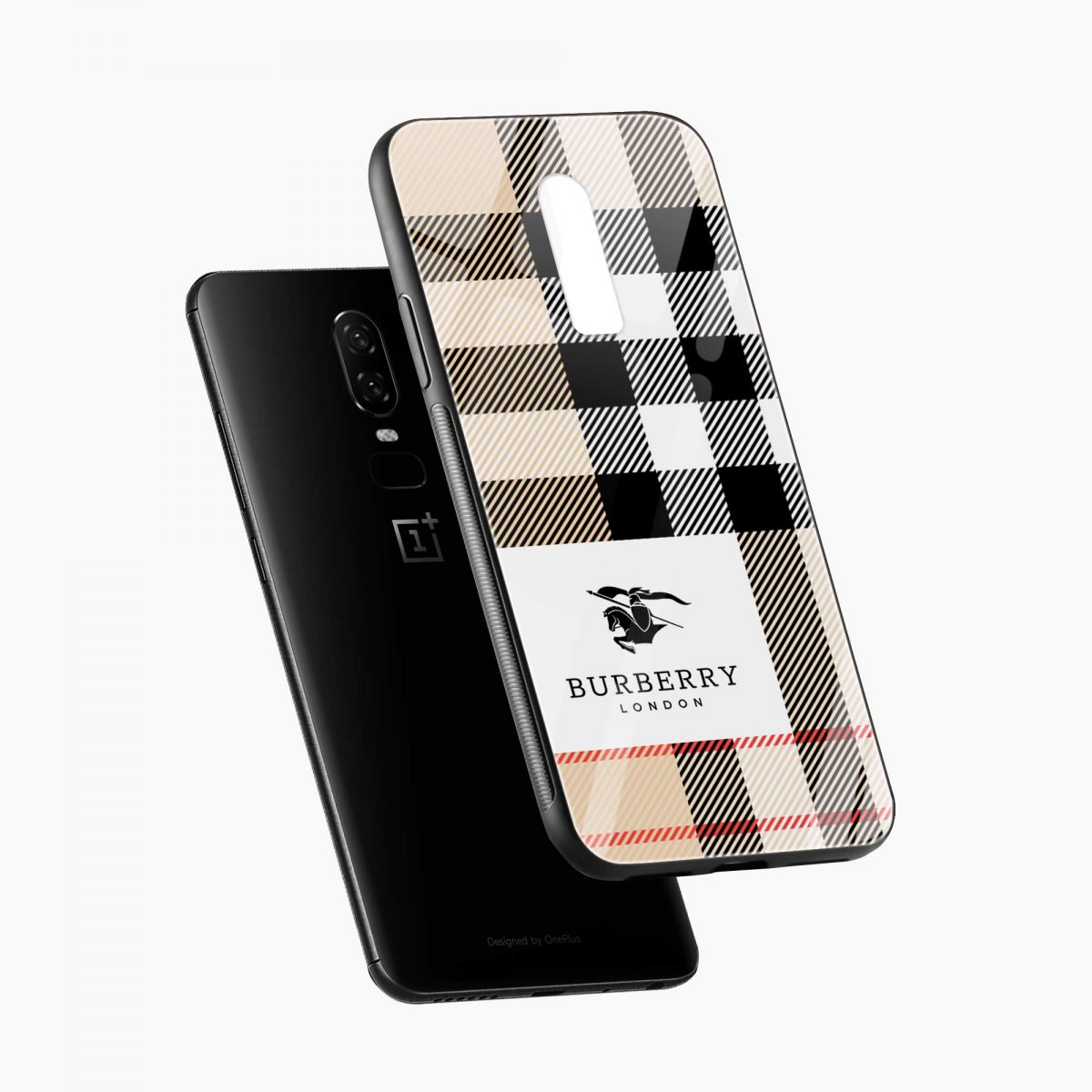 burberry cross lines pattern diagonal view oneplus 6 back cover