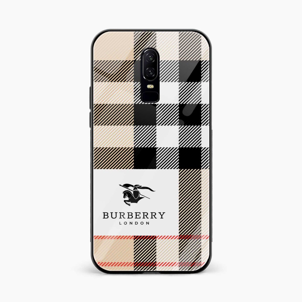 burberry cross lines pattern front view oneplus 6 back cover