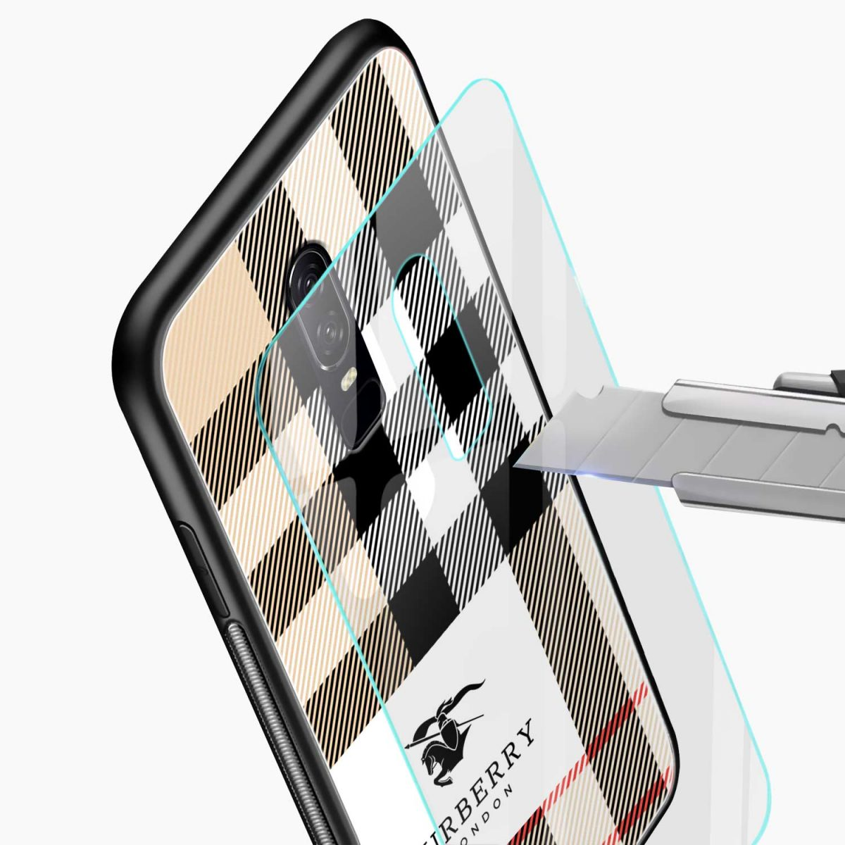 burberry cross lines pattern glass view oneplus 6 back cover