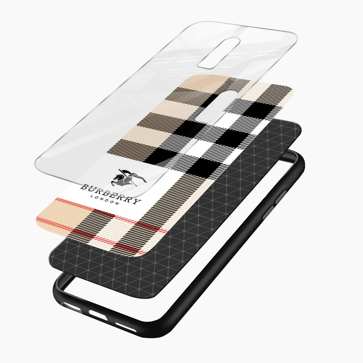 burberry cross lines pattern layers view oneplus 6 back cover