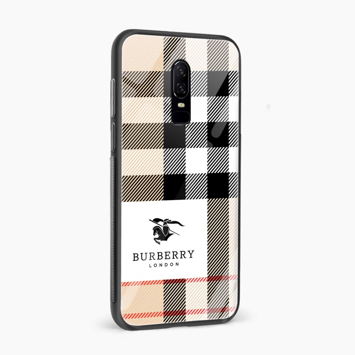 burberry cross lines pattern side view oneplus 6 back cover