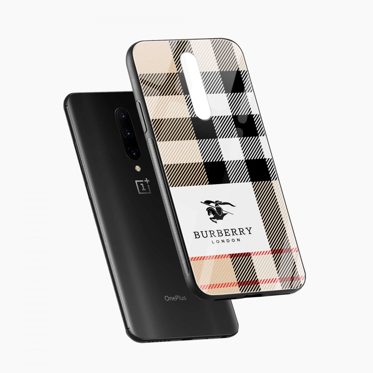 burberry cross lines pattern diagonal view oneplus 7 pro back cover