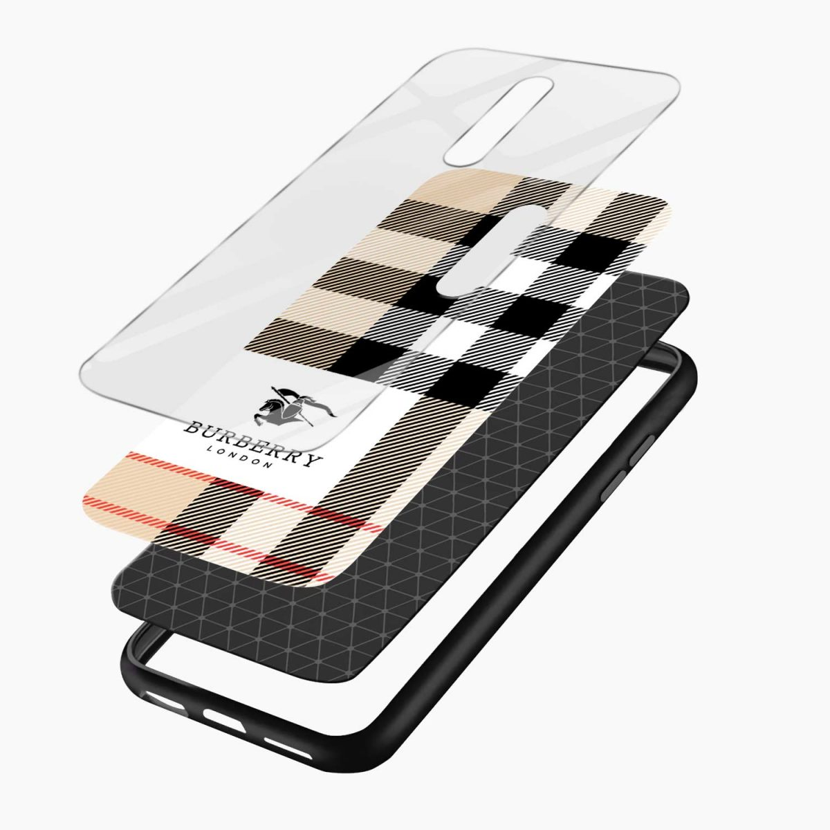 burberry cross lines pattern layers view oneplus 7 pro back cover