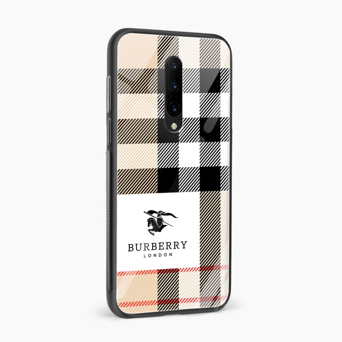 burberry cross lines pattern side view oneplus 7 pro back cover