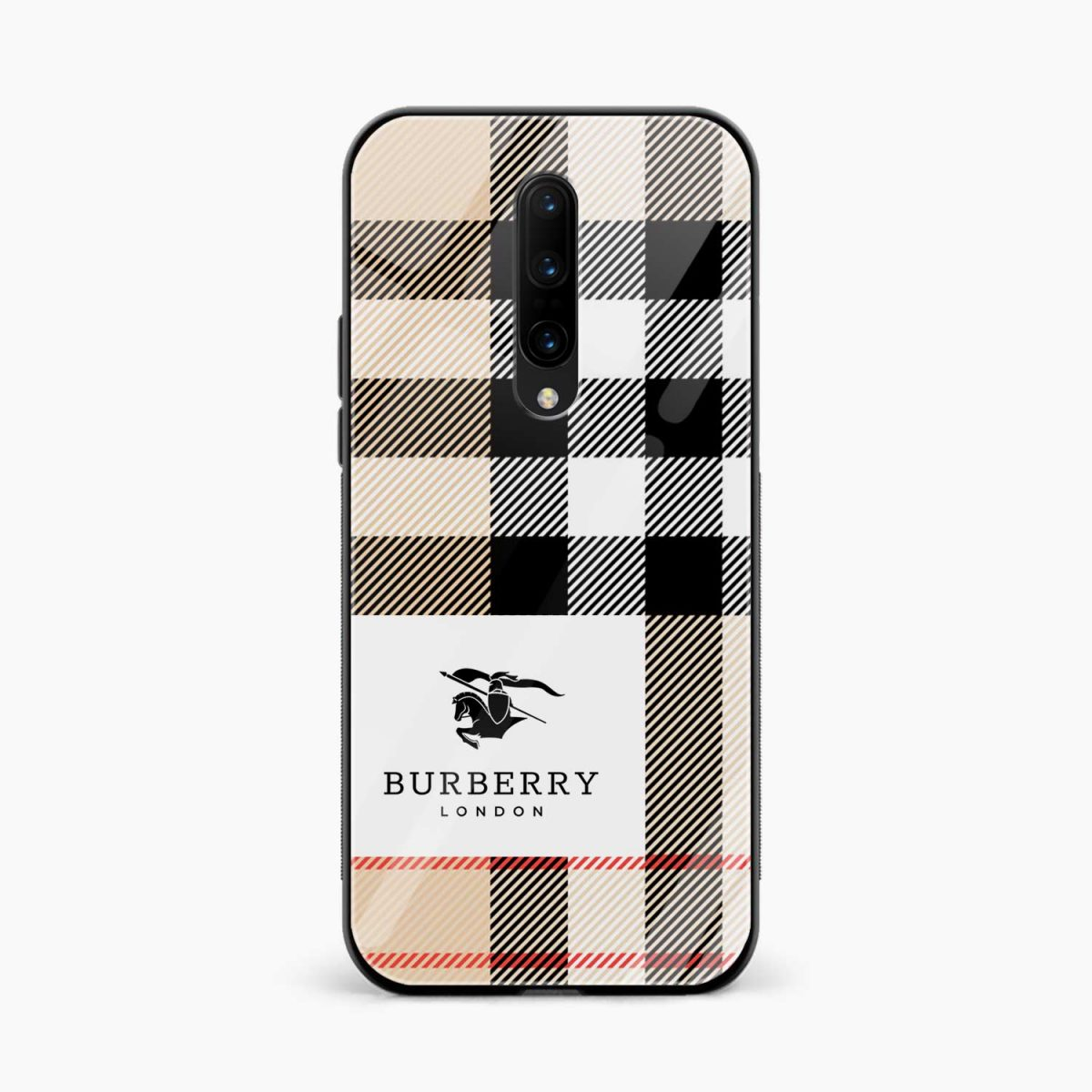 burberry cross lines pattern front view oneplus 7 pro back cover