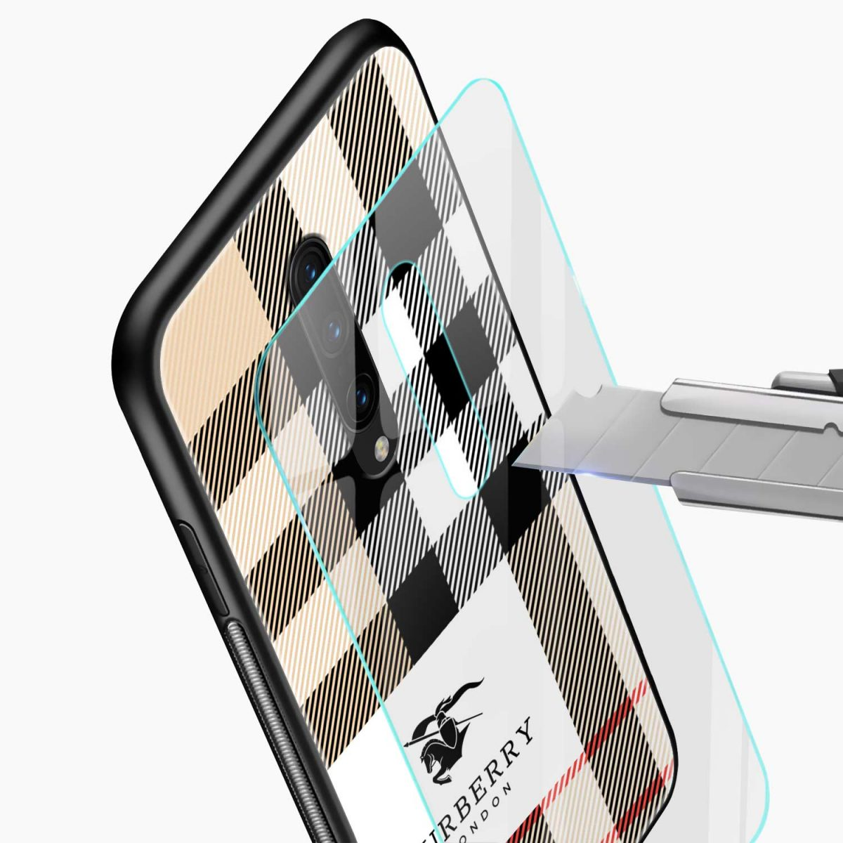 burberry cross lines pattern glass view oneplus 7 pro back cover