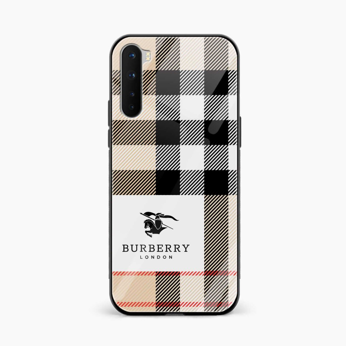burberry cross lines pattern front view oneplus nord back cover