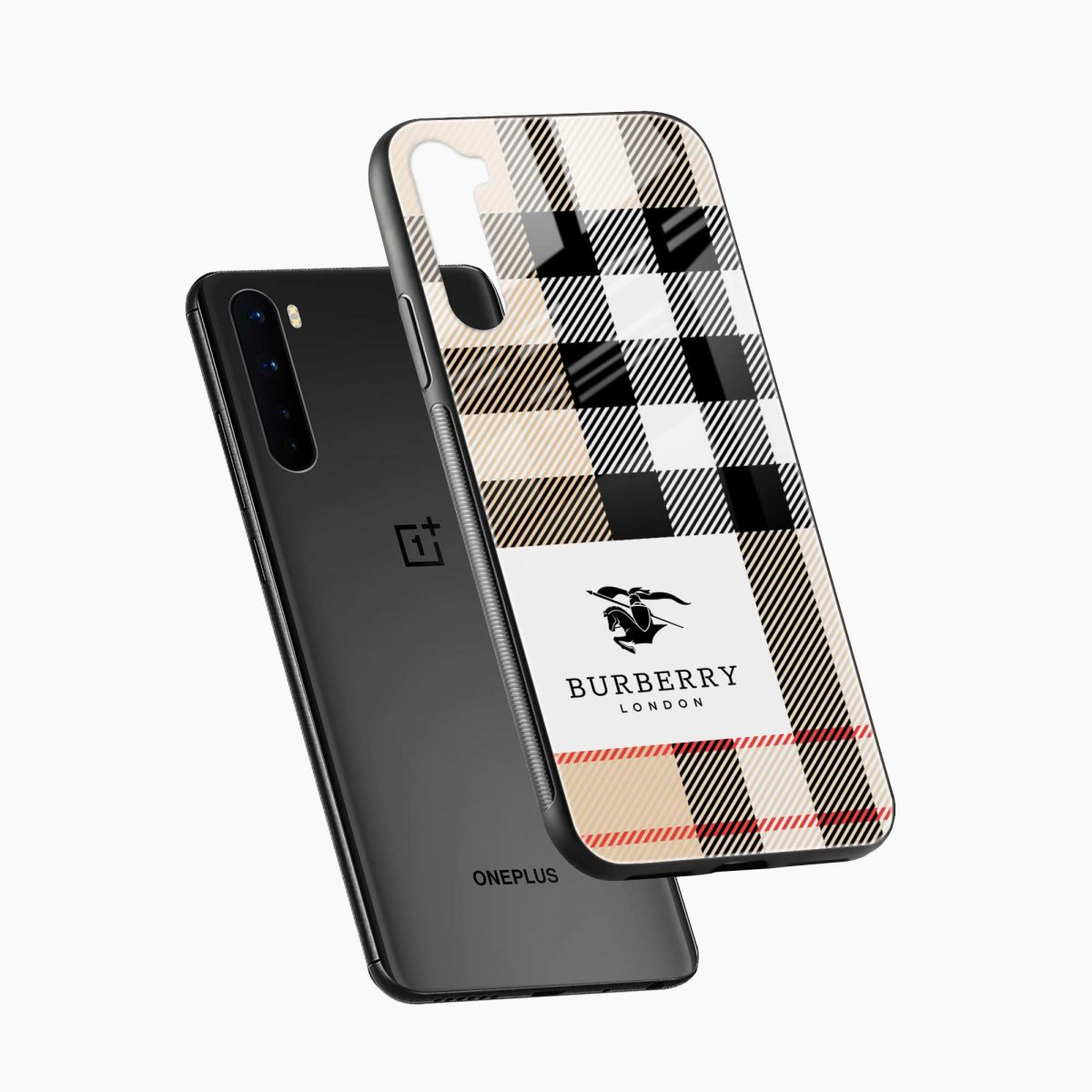 burberry cross lines pattern diagonal view oneplus nord back cover