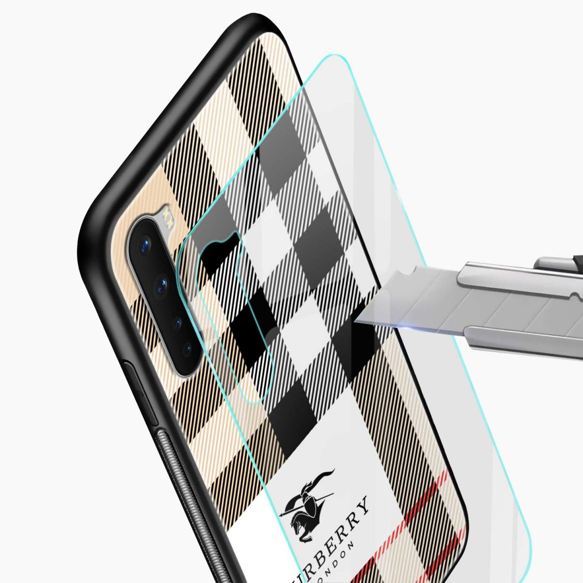 burberry cross lines pattern glass view oneplus nord back cover
