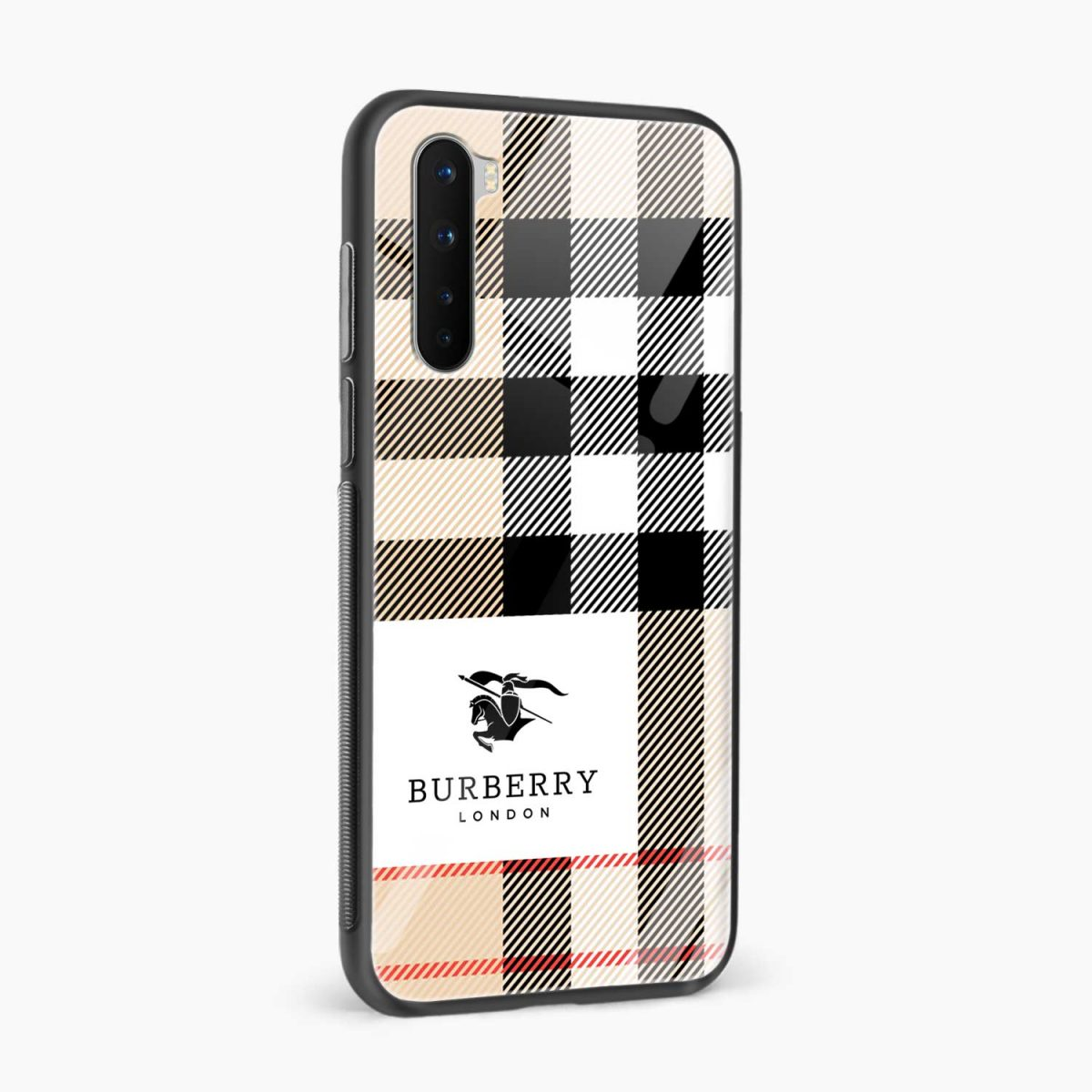 burberry cross lines pattern side view oneplus nord back cover