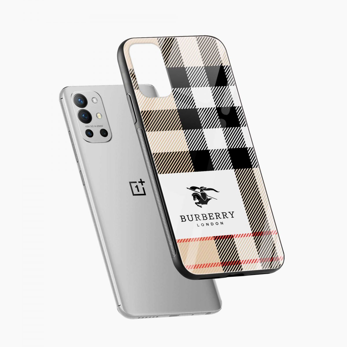 burberry cross lines pattern diagonal view oneplus 9r back cover