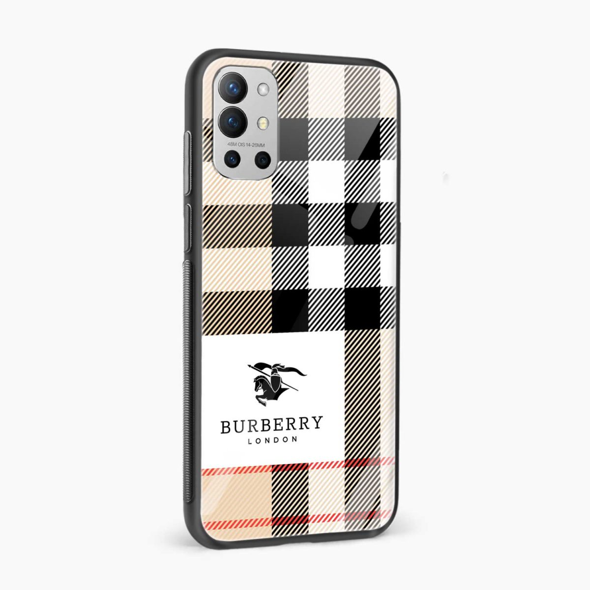 burberry cross lines pattern side view oneplus 9r back cover
