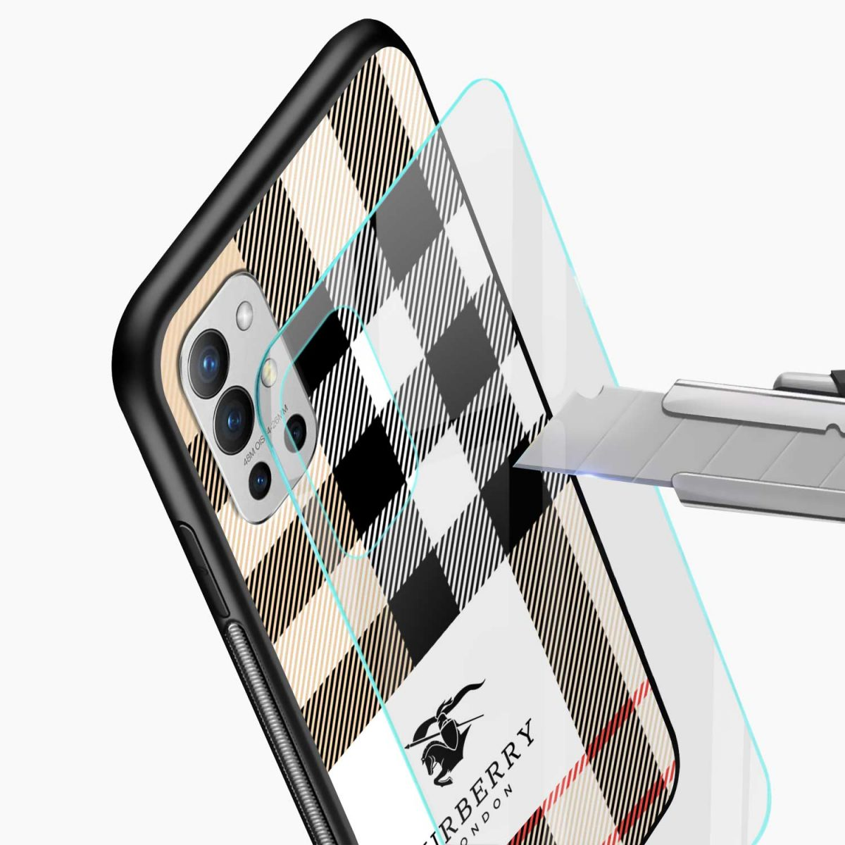 burberry cross lines pattern glass view oneplus 9r back cover