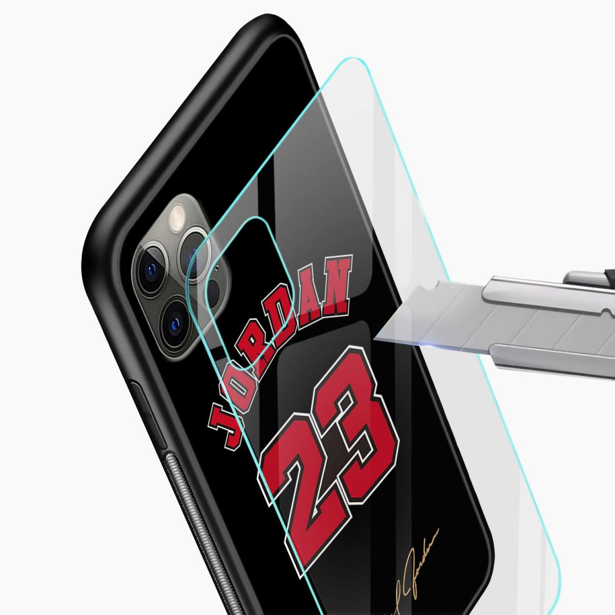 jordan 23 iphone pro back cover glass view