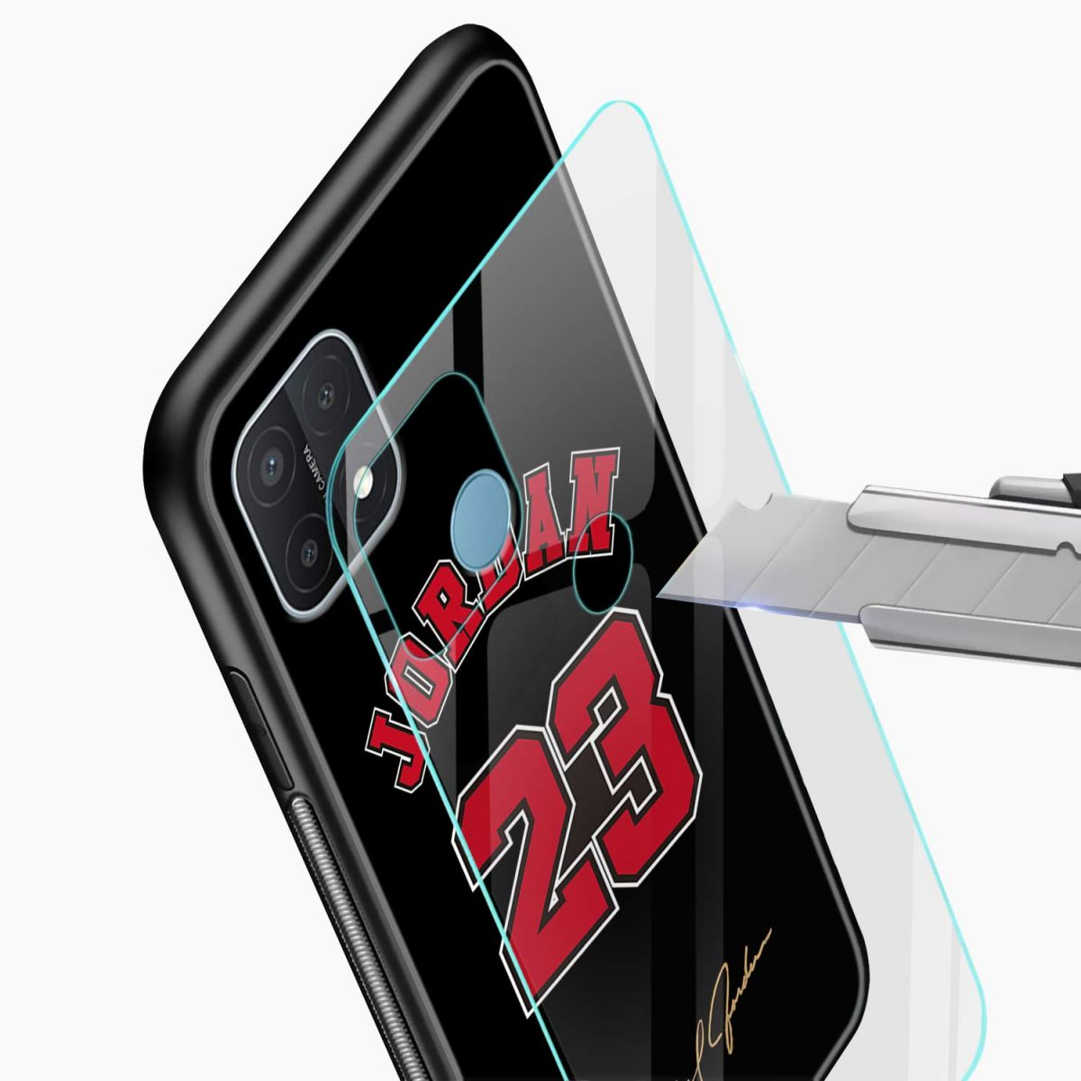 jordan 23 glass view oppo a15 back cover