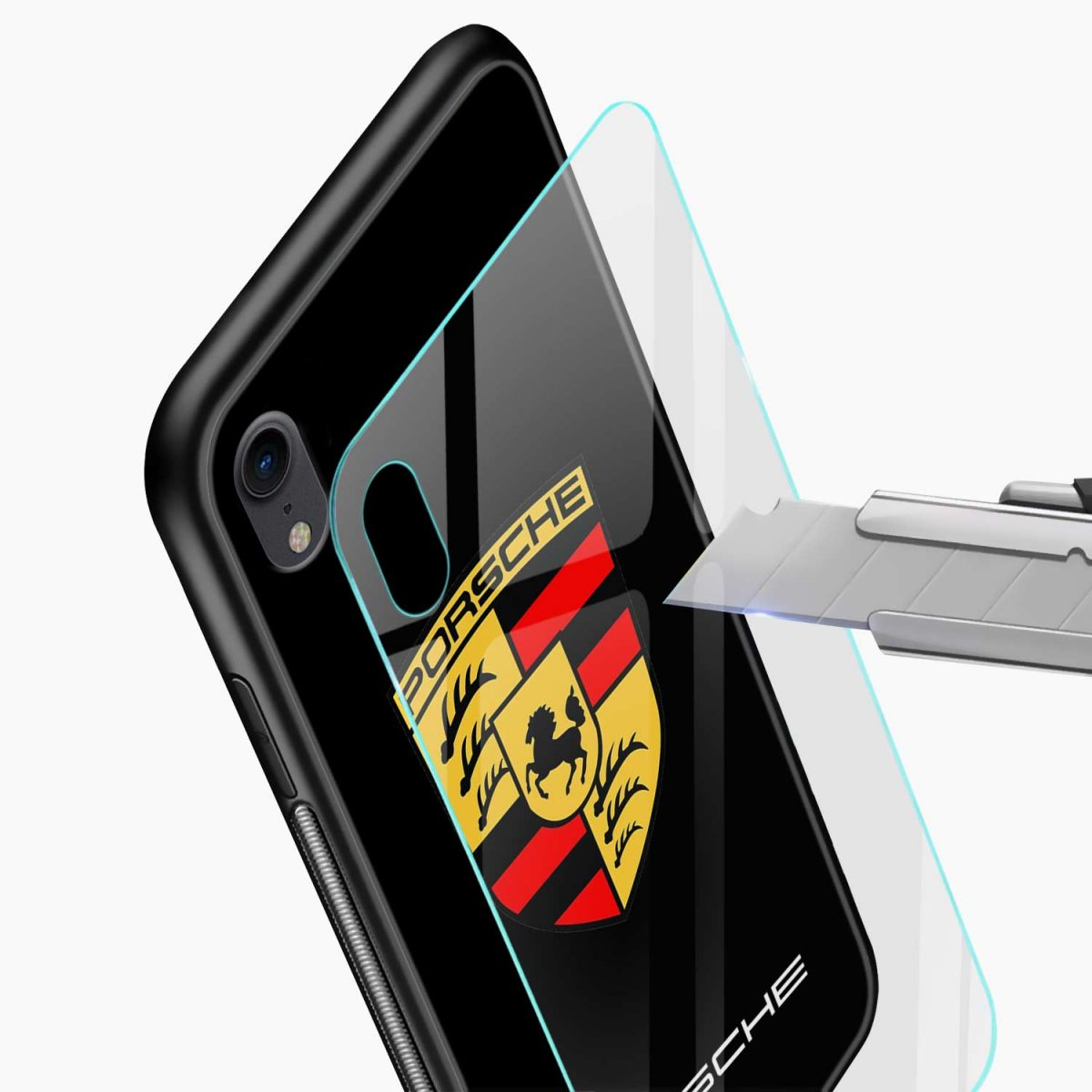 prosche apple iphone xr back cover glass view