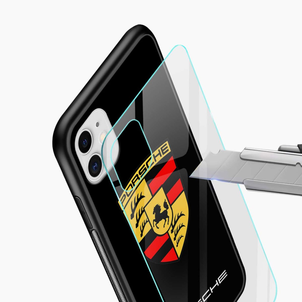 prosche iphone back cover glass view