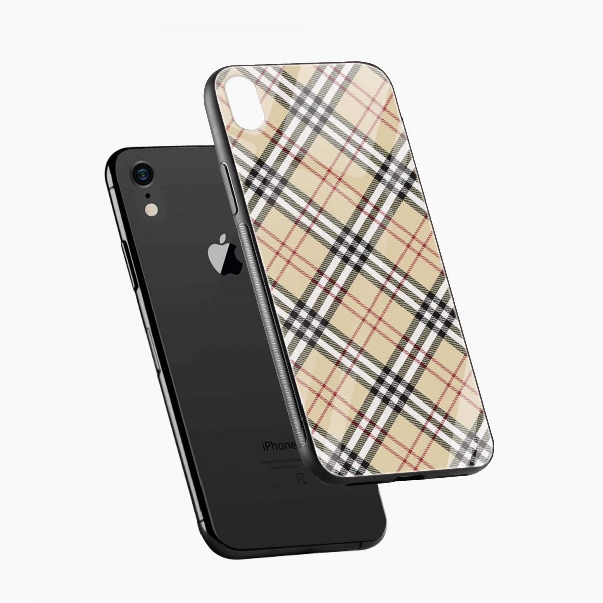 cross line pattern apple iphone xr back cover diagonal view