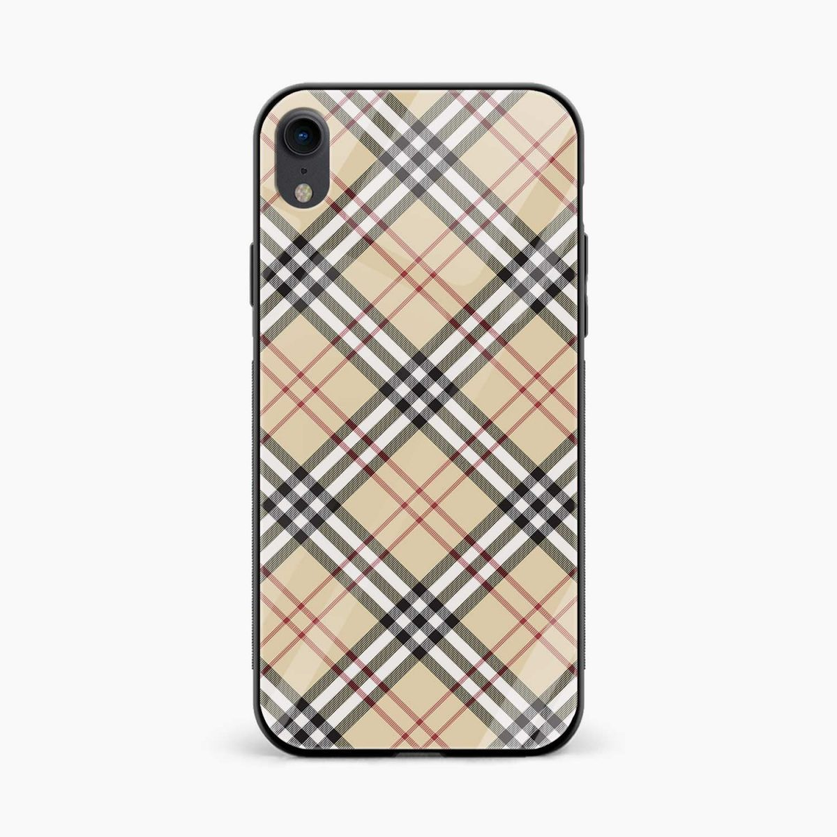 cross line pattern apple iphone xr back cover front view
