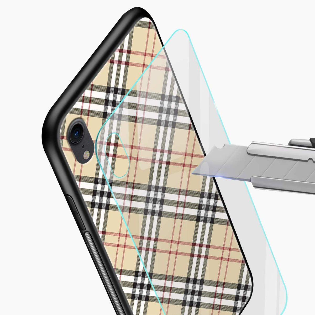 cross line pattern apple iphone xr back cover glass view