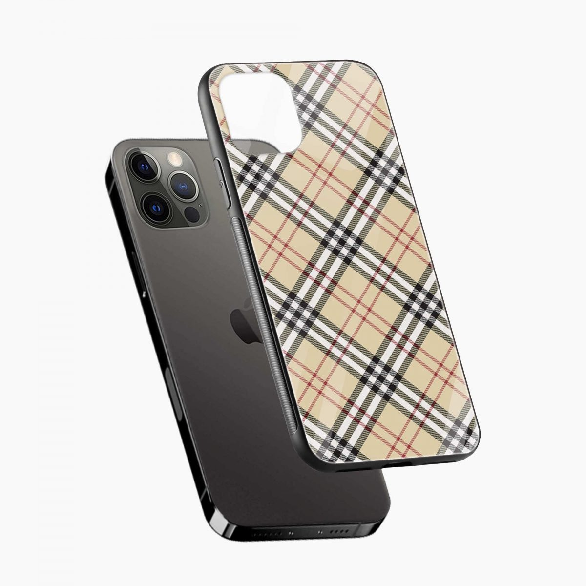 cross line pattern iphone pro back cover diagonal view
