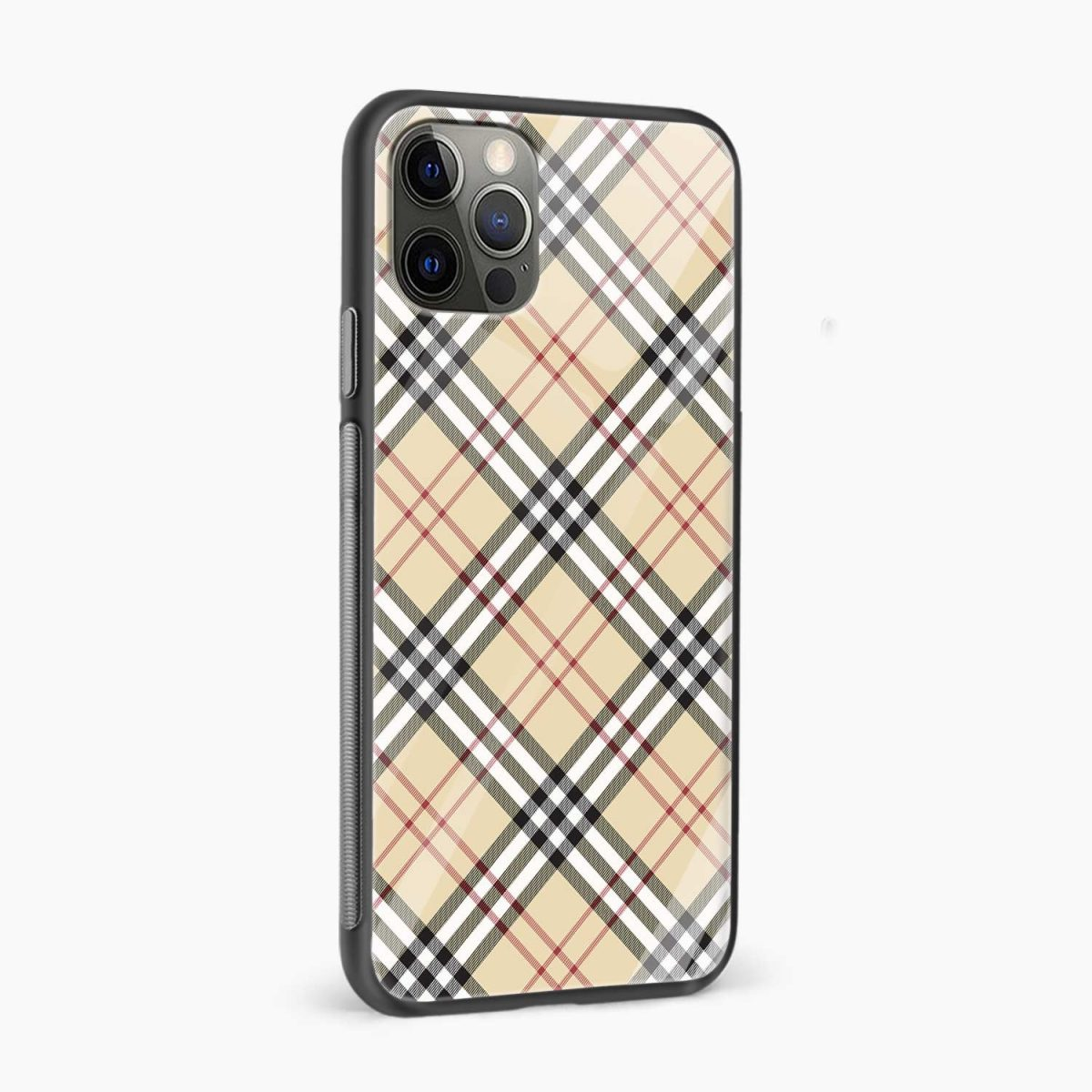 cross line pattern iphone pro back cover side view