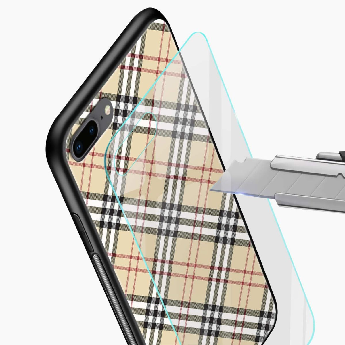 cross line pattern glass view apple iphone 7 8 plus back cover