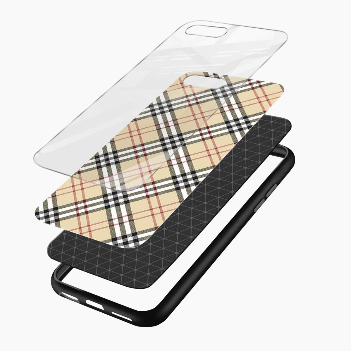cross line pattern layers view apple iphone 7 8 plus back cover