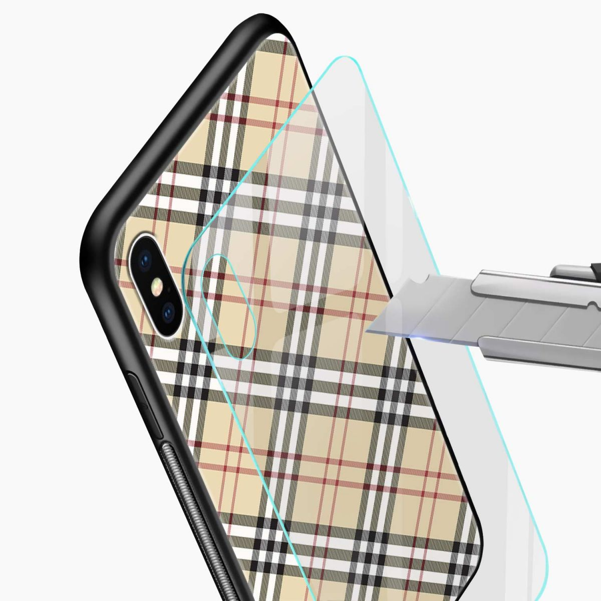 cross line pattern glass view apple iphone x xs max back cover