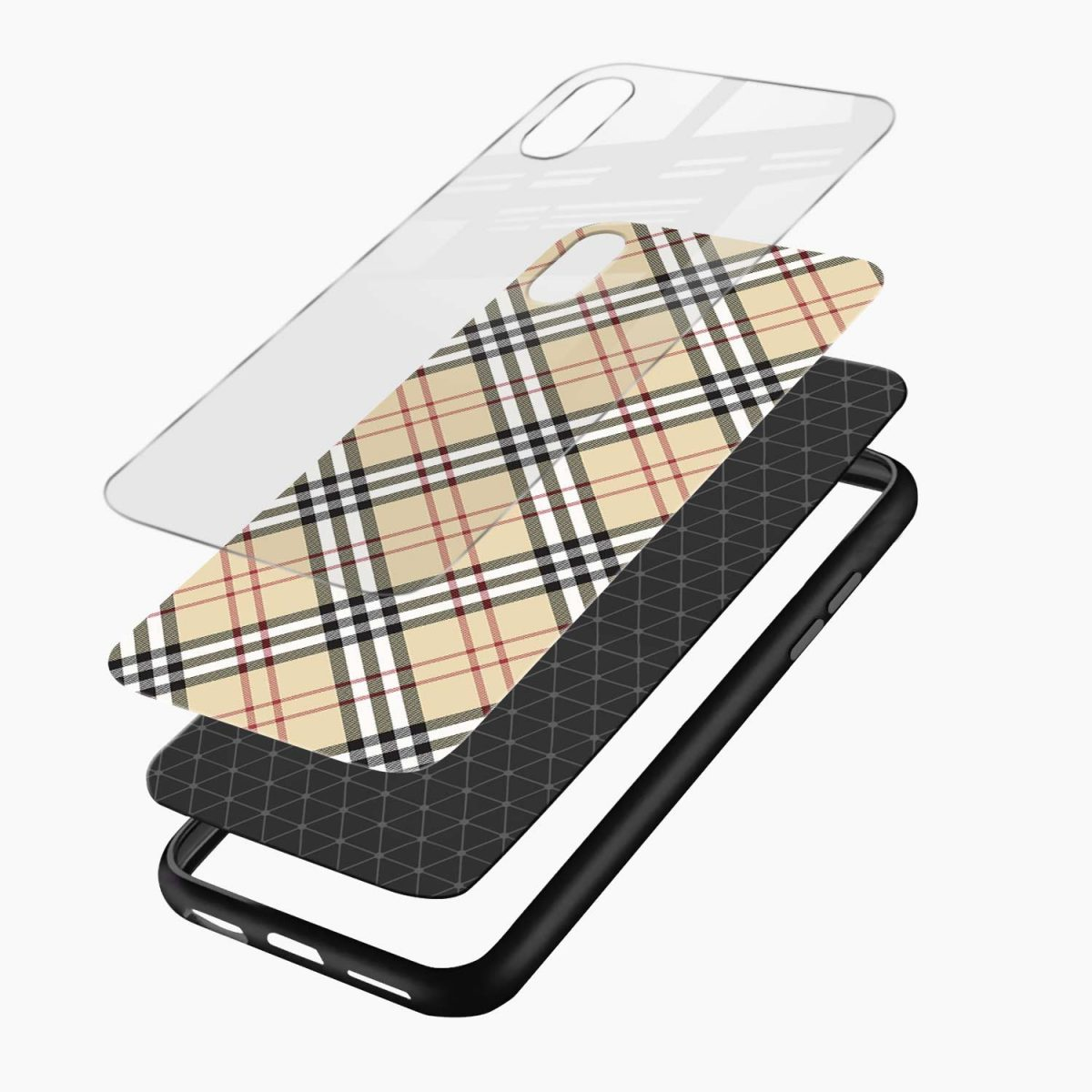 cross line pattern layers view apple iphone x xs max back cover
