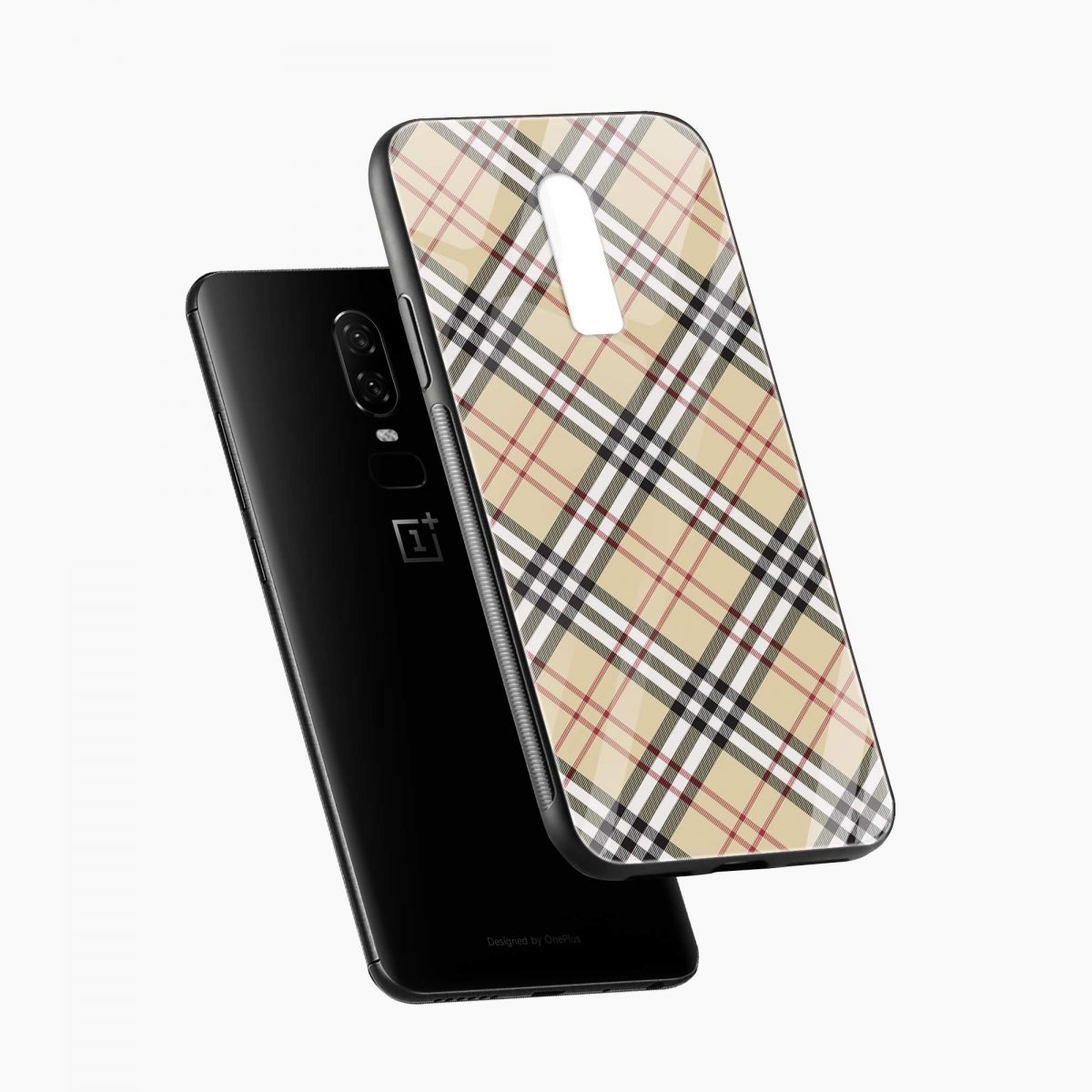 cross line pattern diagonal view oneplus 6 back cover