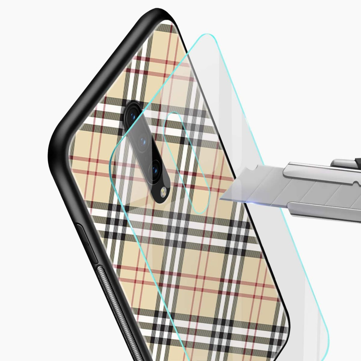 cross line pattern glass view oneplus 7 pro back cover